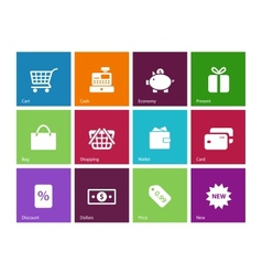 Shopping icons on color background vector image