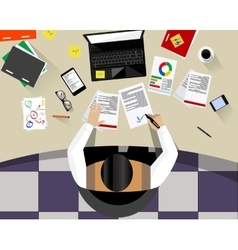 Business Man Sitting Desk Office vector image