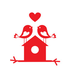 cute birds in love and birdhouse vector image vector image