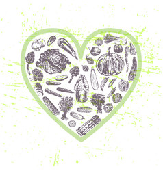 ink hand drawn veggies in heart shape vector image