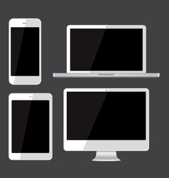 Isolated gadgets cell phone tablet laptop and pc vector image vector image