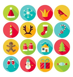 New Year and Merry Christmas Circle Icons Set with vector image vector image