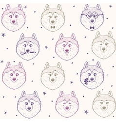 seamless pattern husky vector image