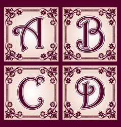vvintage alphabet Part 1 vector image