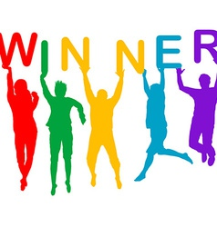 Winner concept with people silhouettes jumping vector image vector image
