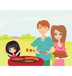 A of a family having a picnic in a park vector image vector image