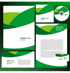Abstract creative corporate identity wave green vector