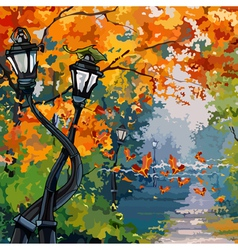 cartoon street lights in the autumn park vector image vector image