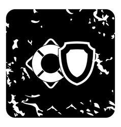 Lifebuoy and safety shield icon grunge style vector image