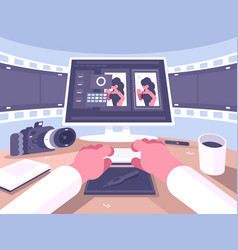 photo designer working process vector image
