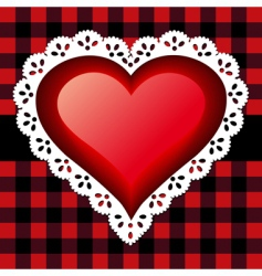 red lace heart vector image vector image