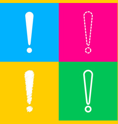 attention sign four styles of icon vector image