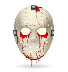 bloody hockey mask on white background for vector image