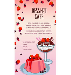 cake and ice cream poster for dessert cafe design vector image vector image