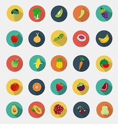 Fruit and vegetables icons flat design vector image vector image
