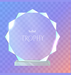 my best trophy round glass award with cutters vector image