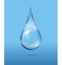 Realistic transparent water drop over blue vector image
