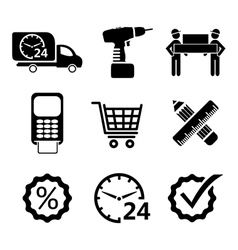 shopping icons in black vector image vector image