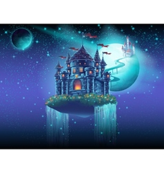 space castle with a waterfall on the background of vector image vector image
