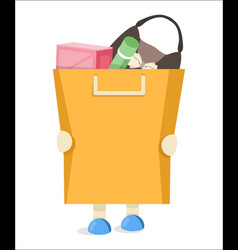 the buyer to keep a package with purchases flat vector image