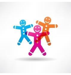 Three colored gingerbread men vector image vector image