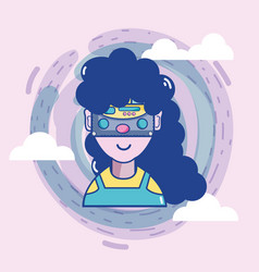 3d eyeglasses virtual experience game vector image vector image