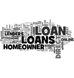 A guide to direct homeowner loans text word cloud vector