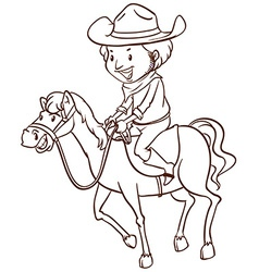 A simple drawing of a cowboy vector image