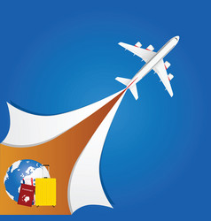 airplane with travel sign vector image