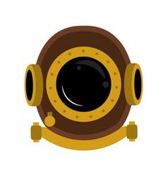 Antique diving helmet vector