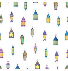 arab lamps pattern vintage oriental lanterns vector image