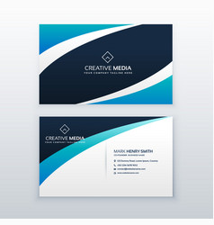 Awesome blue wave business card design vector
