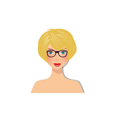 Beautiful blonde girl with blue eyes and glasses vector