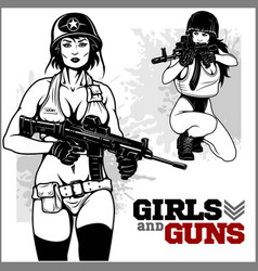 Beautiful pinup girls holding a gun vector