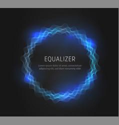 blue round equalizer shape on black background vector image