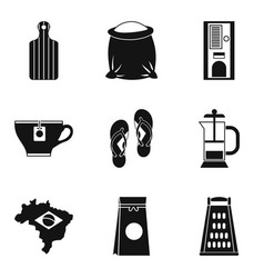 brazil coffee icon set simple style vector image
