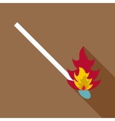 Burning match icon flat style vector image