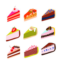 Cakes and cheesecakes cartoon icon set vector