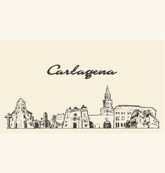 cartagena skyline colombia hand draw sketch vector image