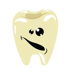 cartoon a sick tooth caries on vector image