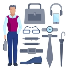 Cartoon businessman with set of office accessories vector