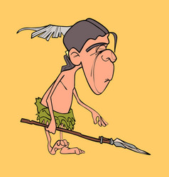 Cartoon funny man aboriginal indian with a spear vector