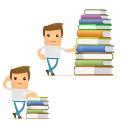 cartoon man with books vector image