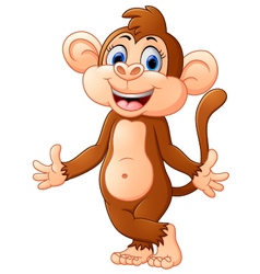 Cartoon monkey presenting vector