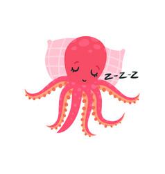 Cartoon pink octopus sleeping on soft pillow vector