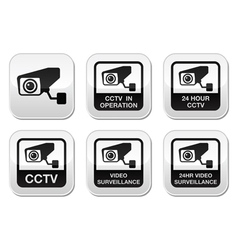 CCTV camera Video surveillance buttons set vector