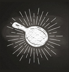 chalk silhoutte of a pan with sun rays vector image