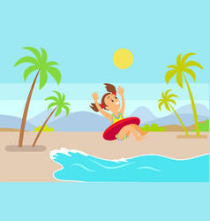 child in inflatable circle jumping in sea vector image