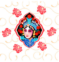 Chinese peking opera floral poster vector