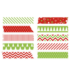 christmas washi tapes set colored scotch lines vector image